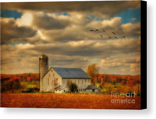 White Barn Canvas Print featuring the photograph South For The Winter by Lois Bryan
