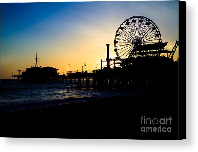 America Canvas Print featuring the photograph Southern California Santa Monica Pier Sunset by Paul Velgos