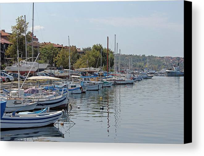 Sozopol Harbour Canvas Print featuring the photograph Sozopol Harbour Bulgaria. by Tony Murtagh
