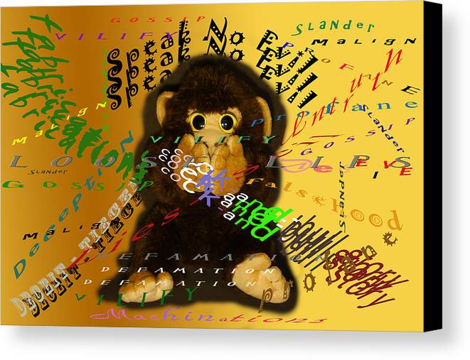 Monkey Canvas Print featuring the photograph Speak No Evil by Lorenzo Williams