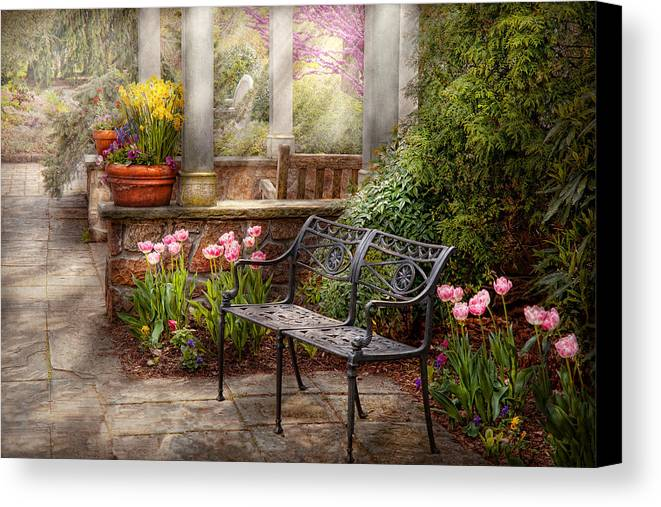Spring Canvas Print featuring the photograph Spring - Bench - A Place To Retire by Mike Savad