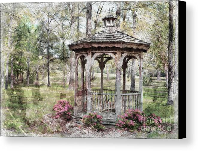 Nature Canvas Print featuring the photograph Spring Gazebo Painteffect by Debbie Portwood