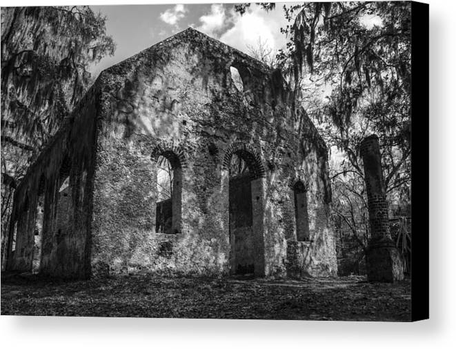Chapel Of Ease Canvas Print featuring the photograph St Helena Chapel Of Ease Bw 3 by Steven Taylor