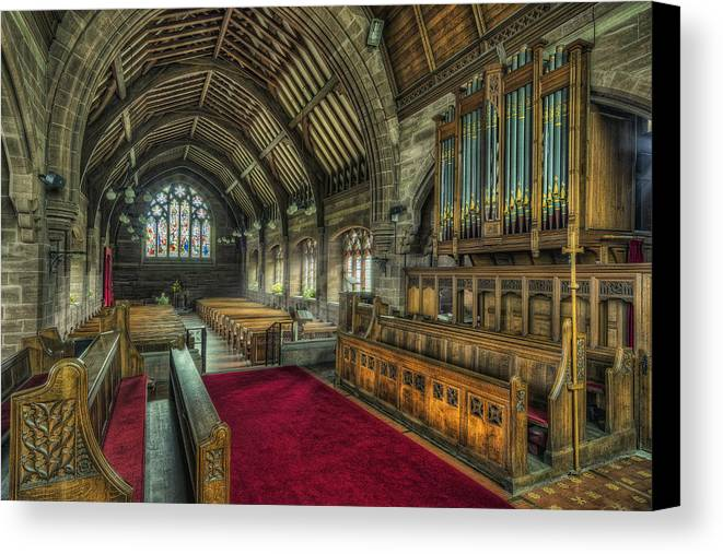 Cathedral Canvas Print featuring the photograph St Marys Church Organ by Ian Mitchell