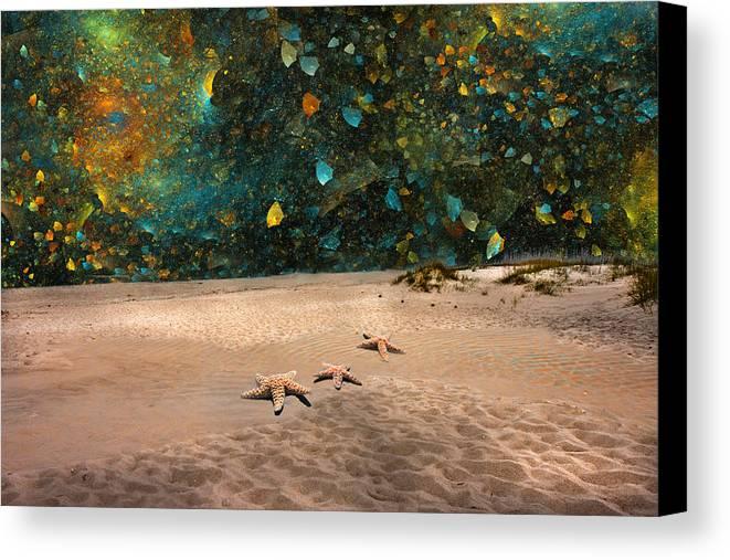 Starfish Canvas Print featuring the digital art Starry Beach Night by Betsy Knapp