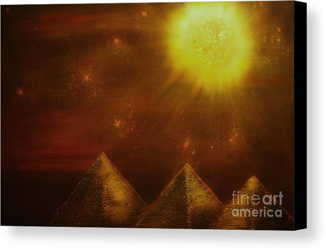Landscape Canvas Print featuring the painting Starry Pyramid Night-original Sold-buy Giclee Print Nr 34 Of Limited Edition Of 40 Prints by Eddie Michael Beck