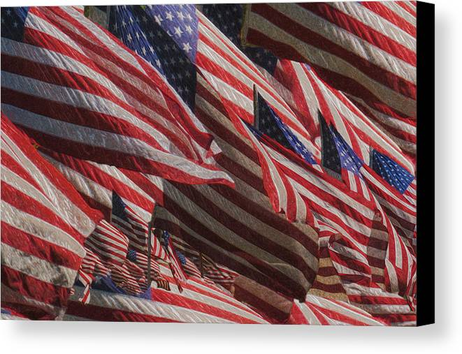 National Flag United States Of America Canvas Print featuring the painting Stars And Stripes - Remembering by Jack Zulli