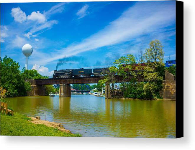 Steam Canvas Print featuring the photograph Steam Locomotive Crossing Bridge by Tracey Patterson