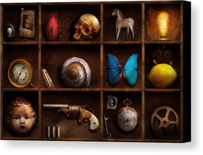 Steampunk Canvas Print featuring the photograph Steampunk - A Box Of Curiosities by Mike Savad