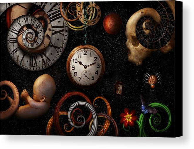 Time Canvas Print featuring the photograph Steampunk - Abstract - The Beginning And End by Mike Savad