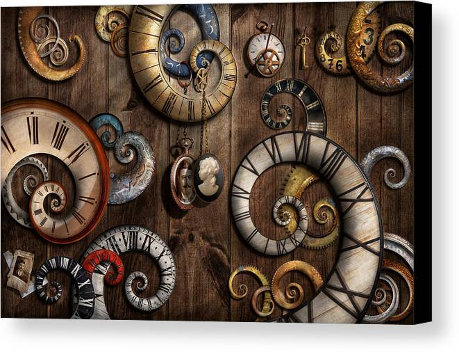 Savad Canvas Print featuring the photograph Steampunk - Clock - Time Machine by Mike Savad