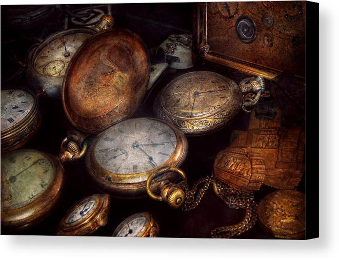 Steampunk Canvas Print featuring the photograph Steampunk - Clock - Time Worn by Mike Savad