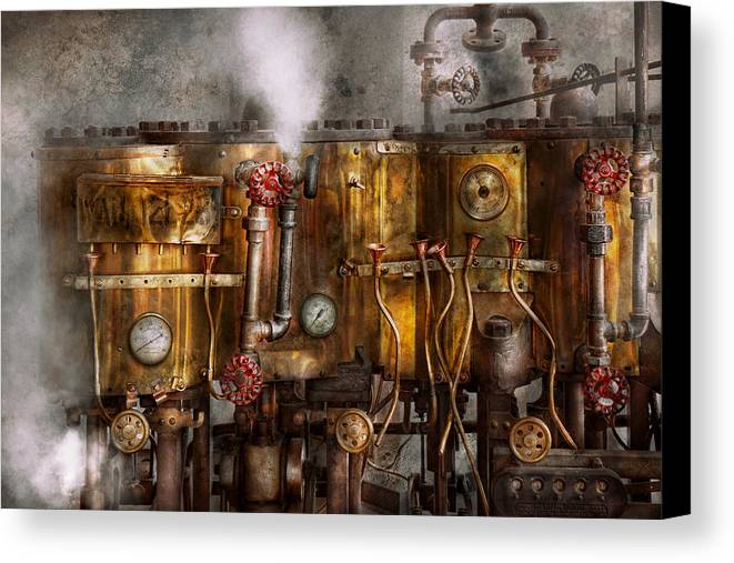 Steampunk Canvas Print featuring the photograph Steampunk - Plumbing - Distilation Apparatus by Mike Savad