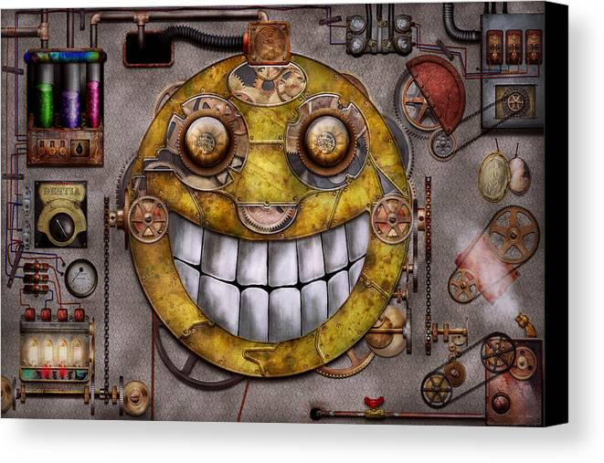 Steampunk Canvas Print featuring the digital art Steampunk - The Joy Of Technology by Mike Savad