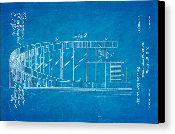 Engineer Canvas Print featuring the photograph Stevens Roller Coaster Patent Art 2 1884 Blueprint by Ian Monk