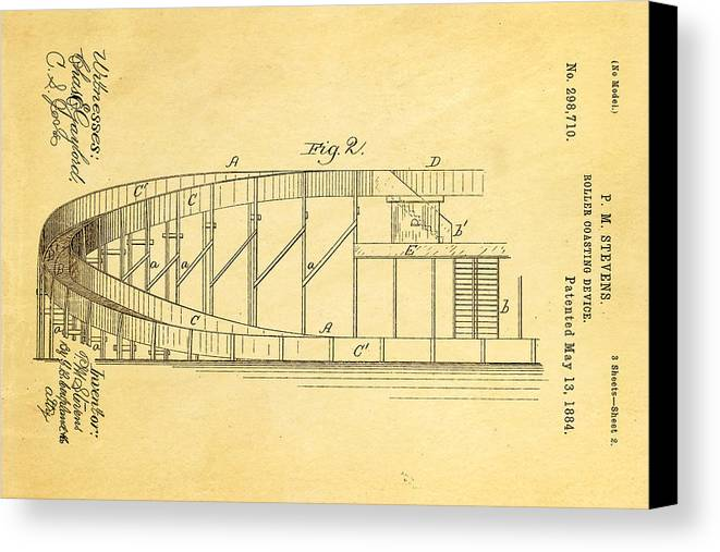 Engineer Canvas Print featuring the photograph Stevens Roller Coaster Patent Art 2 1884 by Ian Monk