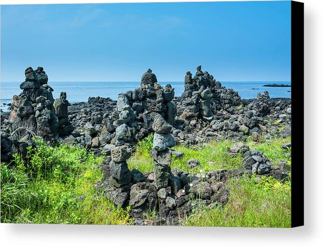 Danita Delimont Canvas Print featuring the photograph Stone Walls Made By Tourists by Michael Runkel