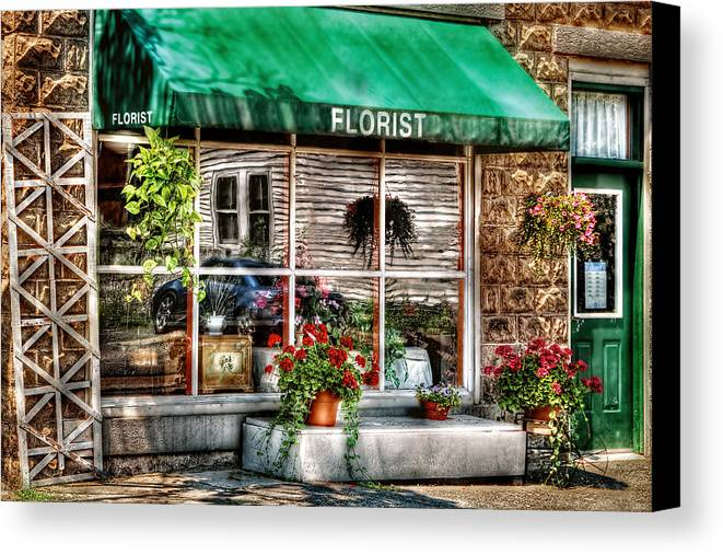 Awning Canvas Print featuring the photograph Store - Florist by Mike Savad