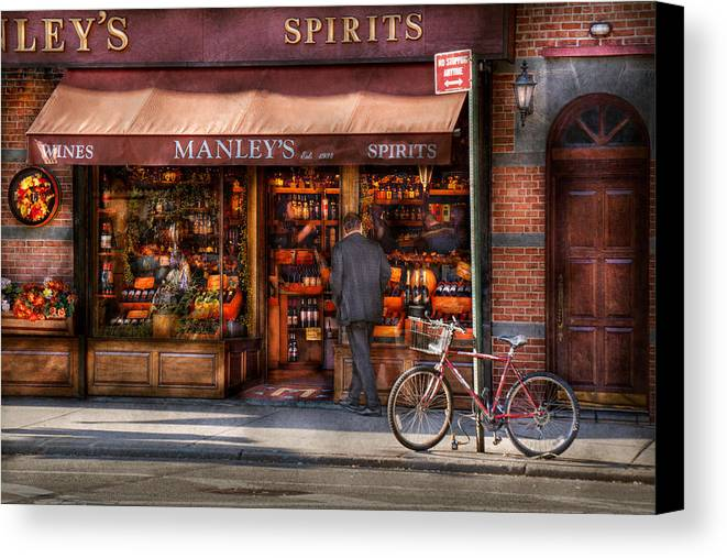 Manley Canvas Print featuring the photograph Store - Wine - Ny - Chelsea - Wines And Spirits Est 1934 by Mike Savad