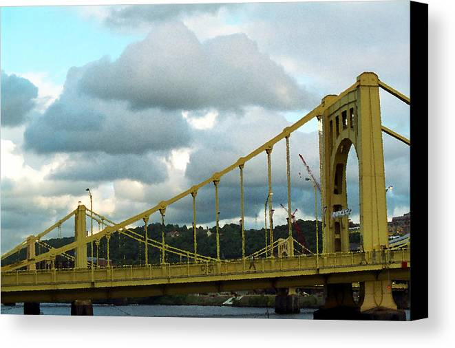 Allegheny Canvas Print featuring the photograph Stormy Bridge by Frank Romeo