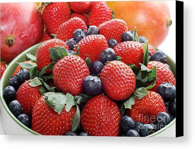 Strawberries Canvas Print featuring the photograph Strawberries Blueberries Mangoes - Fruit - Heart Health by Andee Design