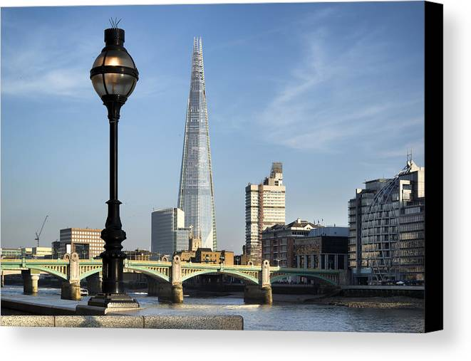 Landscape Canvas Print featuring the photograph Street Light And Shard by Matthew Gibson