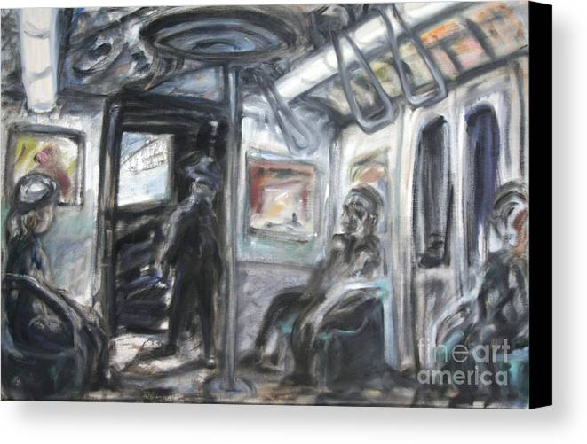 Subway Canvas Print featuring the painting Subway Car Interior by Arthur Robins