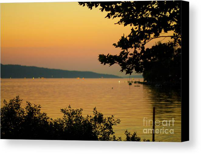 Summer Canvas Print featuring the photograph Summer Evening On Cayuga Lake by Brad Marzolf Photography