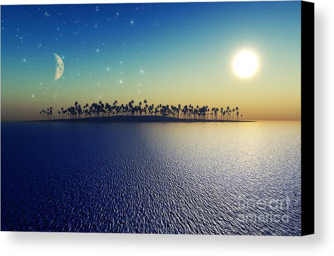 Islands Canvas Print featuring the digital art Sun And Moon by Aleksey Tugolukov
