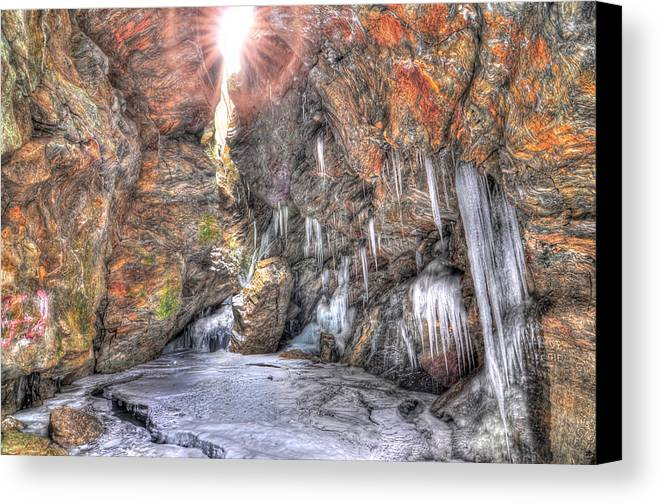 Awesome Hdr Cave Spelunking New York Landscape Nature Water Ice Icicle Stalactite Stalagmite River Creek Winter Frozen Freezing Rocks Red Green Blue Canvas Print featuring the photograph Sun Cave by Karl Barth