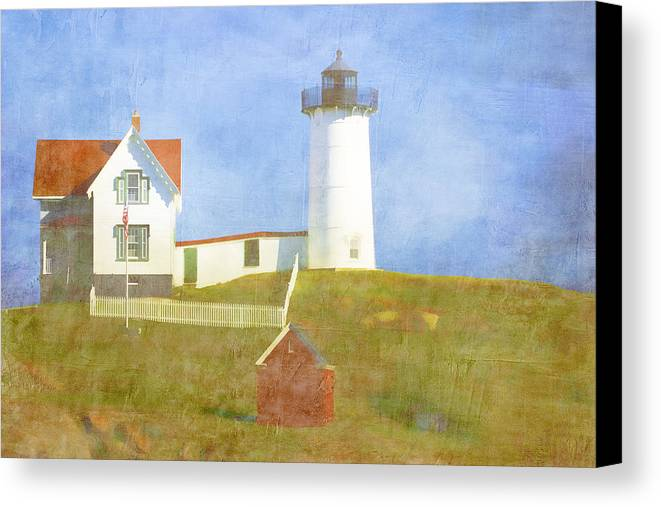 Light Canvas Print featuring the photograph Sunny Day At Nubble Lighthouse by Carol Leigh
