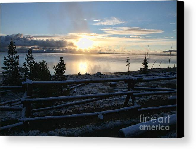 Yellowstone Lake Canvas Print featuring the photograph Sunrise On Yellowstone Lake by Edward R Wisell