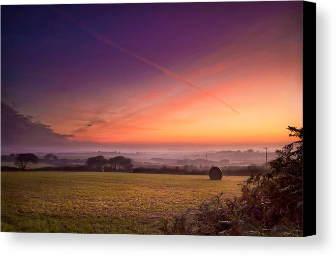 Landscape Canvas Print featuring the photograph Sunrise Over Cornwall by Christine Smart