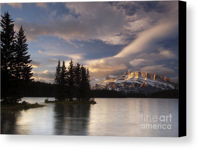 Two Jack Lake Canvas Print featuring the photograph Sunrise Over Two Jack by Keith Kapple