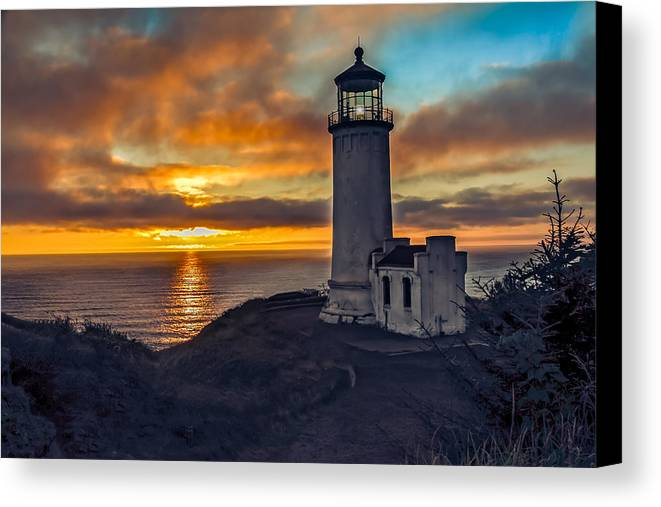 Lighthouse Canvas Print featuring the photograph Sunset At North Head by Robert Bales