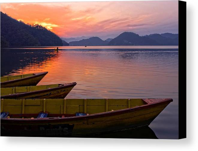 Landscape Canvas Print featuring the photograph Sunset On A Mountainlake by Rene Schuiling