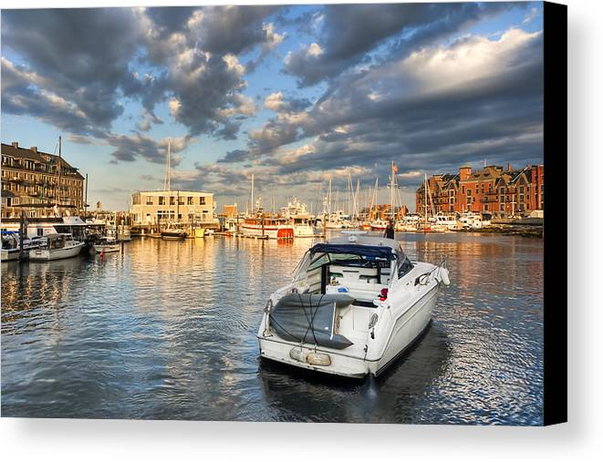 Boston Canvas Print featuring the photograph Sunset On The Boston Waterfront by Mark E Tisdale
