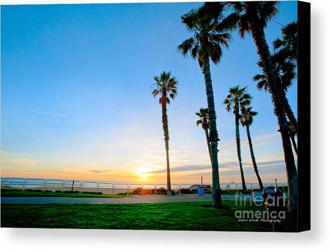 Southern California Sunset Beach Canvas Print featuring the photograph Sunset Over Santa Barbara by Artist and Photographer Laura Wrede