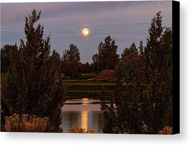 Eagle Crest Canvas Print featuring the photograph Super Moon by Leon Roland