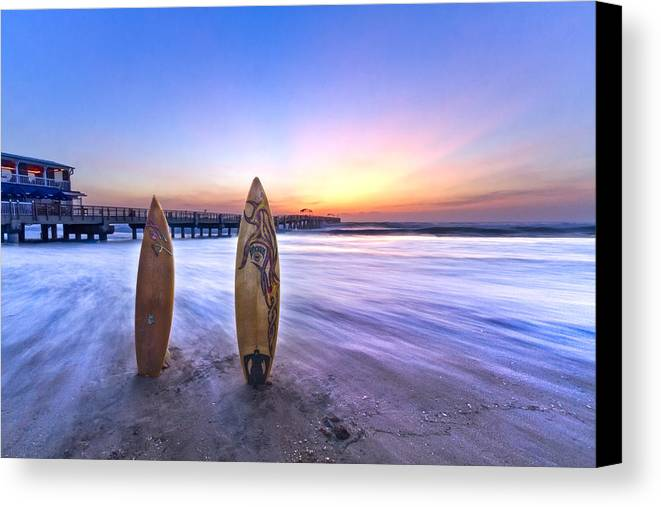 Benny's Canvas Print featuring the photograph Surf's Up by Debra and Dave Vanderlaan