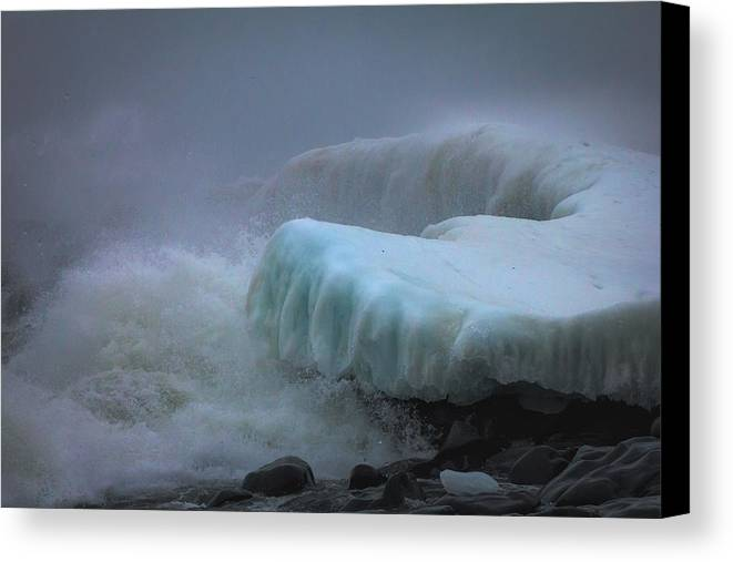 lake Superior stoney Point Ice Splash Storm Nature north Shore Frozen Blizzard Snowstorm greeting Cards mary Amerman surging Sea Canvas Print featuring the photograph Surging Sea by Mary Amerman