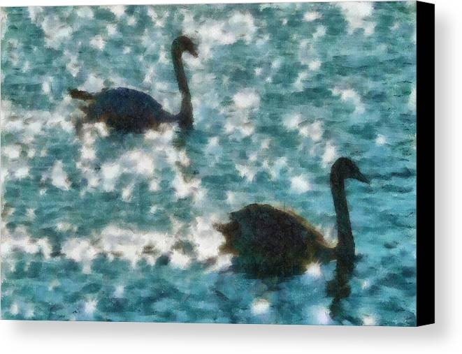 Swan Canvas Print featuring the painting Swan Lake by Ayse Deniz