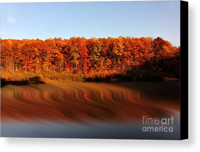 Fall Canvas Print featuring the photograph Swirling Reflections With Fall Colors by Dan Friend