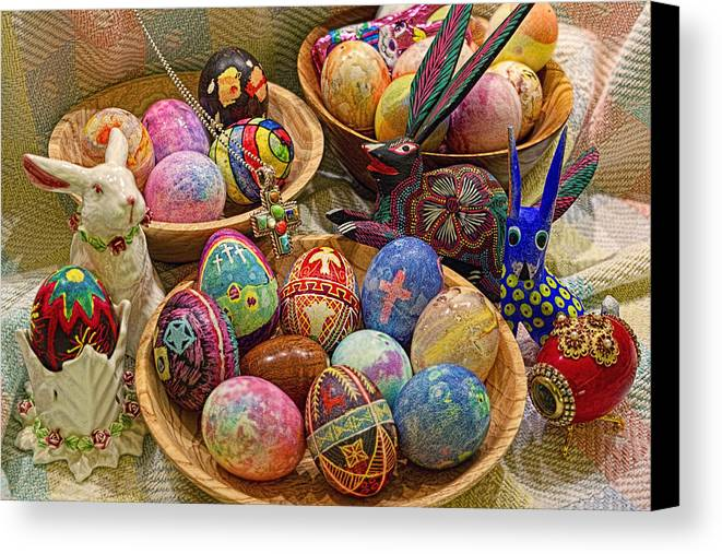 Easter; Cross; Crosses; Crucifixion; Jesus Christ; Jesus; Christ; Christian; Holiday; Holidays; Spiritual; Secular; Symbol; Symbols; Symbolism; Symbolic; Rabbit; Rabbits; Bunny; Bunnies; Easter Bunny; Egg; Eggs; Dyed; Colored; Decorated; Pysanka; Ukrainian; Mexican; Folk Art; Porcelain; Bowl; Bowls; Turned Bowl; Turned Bowls; Wooden Bowl; Wooden Bowls;spiritual;secular;photograph;photographs;photography;gary Holmes;gary; Holmes;horizontal Format;landscape;long Exposure;hdr Canvas Print featuring the photograph Symbols Of Easter- Spiritual And Secular by Gary Holmes