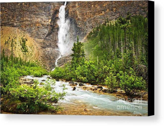 Takakkaw Falls Canvas Print featuring the photograph Takakkaw Falls Waterfall In Yoho National Park Canada by Elena Elisseeva