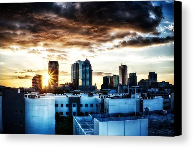 Hdr Canvas Print featuring the photograph Tampa Skyline At Sunset Hdr 1 by Michael White