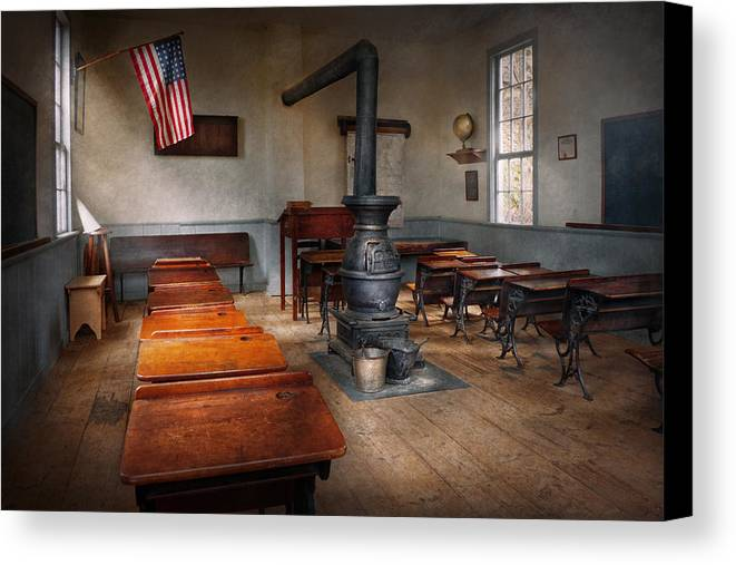 Teacher Canvas Print featuring the photograph Teacher - First Day Of School by Mike Savad