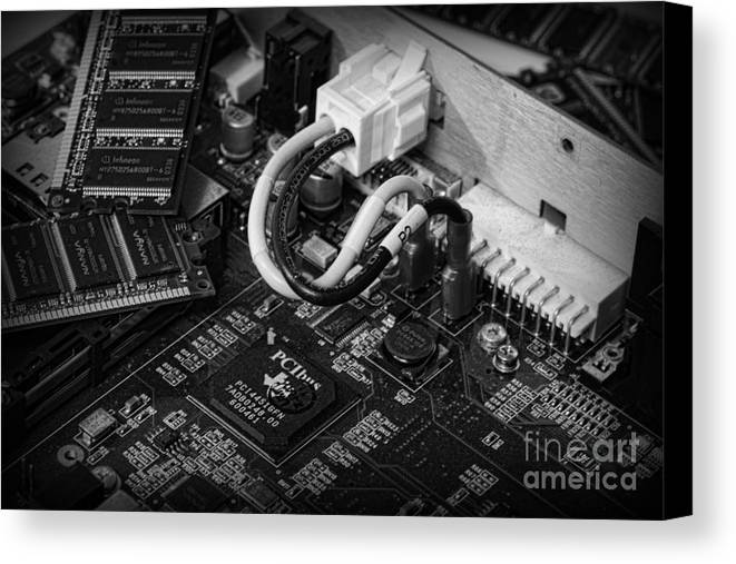 Board Canvas Print featuring the photograph Technology - Motherboard In Black And White by Paul Ward