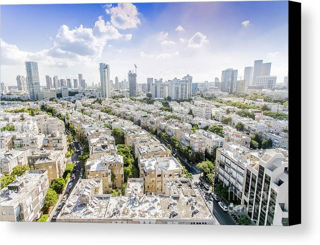 Elevated Canvas Print featuring the photograph Tel Aviv Israel Elevated View by Sv