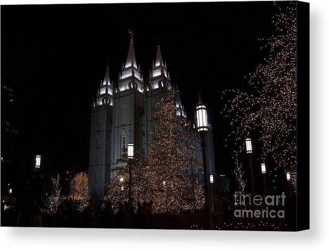 Mormon Canvas Print featuring the photograph Temple Christmas Lights by Nicole Markmann Nelson